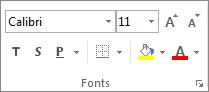 Opcijas grupā Fonts