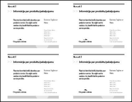 Pastkartes drukas priekšskatījums, kurā redzamas četras pastkartes uz vienas papīra lapas.