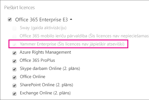 """Office365 administrēšanas centra sadaļas """"Licenču piešķiršana"""" ekrānuzņēmums ar atlasītu Yammer Enterprise licenci."""