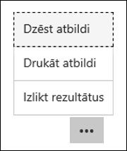 Dzēst, drukāt un publicēt rādītājus opcijas Microsoft Forms