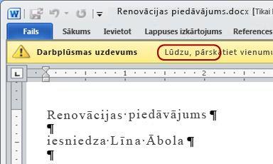 Apstiprināšanas uzaicinājuma teksts elementa ziņojuma joslā