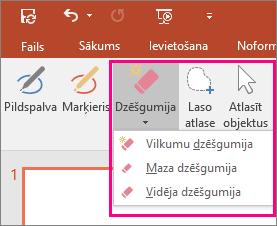 Parāda dzēšgumijas pogu Office sadaļā Rokraksta rīki