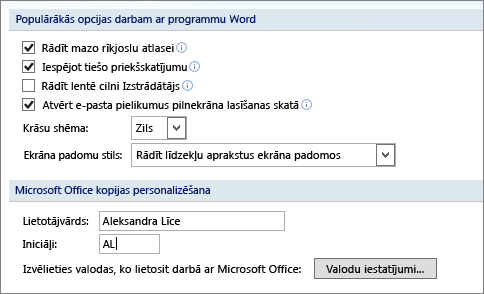 Word 2007 biežāk lietotās opcijas