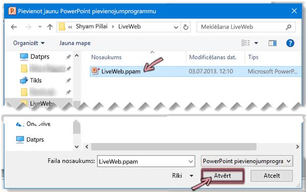 Atlasiet LiveWeb.ppam un pēc tam noklikšķiniet uz Labi.