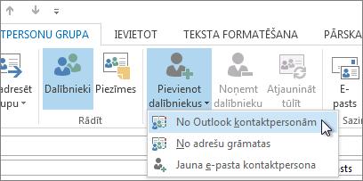 Dalībnieku pievienošana no Outlook kontaktpersonām