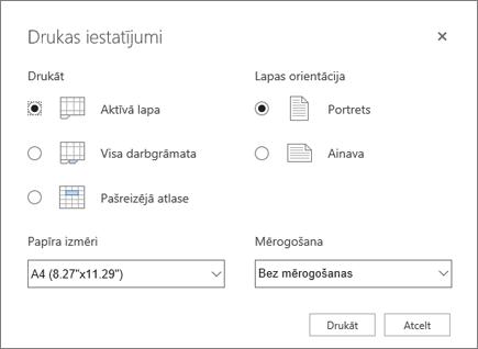 Drukas iestatījumu opcijas pēc noklikšķināšanas uz fails > drukāt