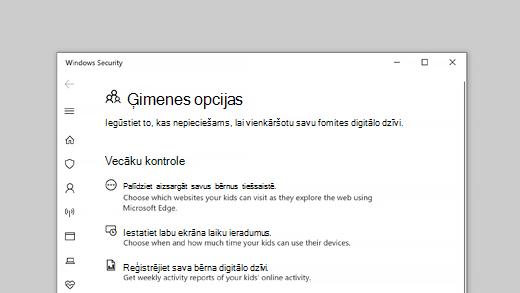 Programmas Windows drošība ģimenes opcijas