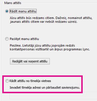Lync līdzekļa Mans attēla opciju loga sadaļas ar izceltu no tīmekļa vietnes atlasītu attēlu ekrānuzņēmums