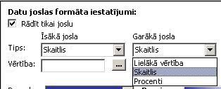 formatējuma iestatījumiem datu joslas
