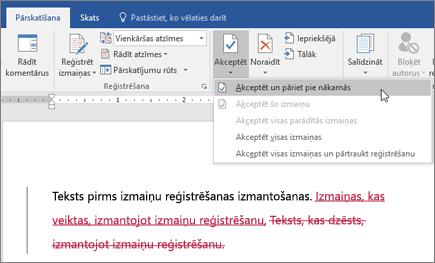 Office365 Word izmaiņu reģistrēšana