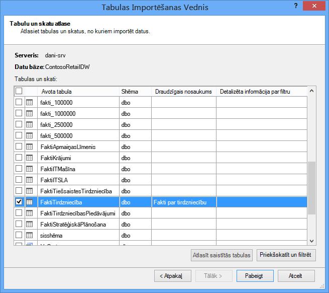 Pievienojumprogrammas PowerPivot tabulu importēšanas vednis