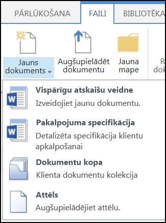 Izvēlne Jauns dokuments ar pielāgotiem satura tipiem vidē SharePoint