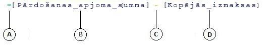 Aprēķinātās kolonnas formula