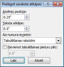 Word 2007 Adjust List Indents dialog box