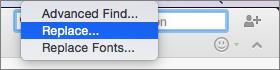 Atlasot aizstāt uz meklēšanas izvēlne