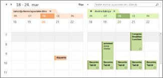 importētais Google kalendārs līdzās viens otram programmā Outlook