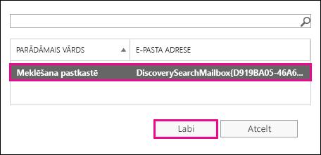 Kopējiet meklēšanas rezultātus noklusējuma atklāšanas meklēšanas pastkastē