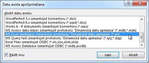 Dialoglodziņš Datu avota apstiprināšana