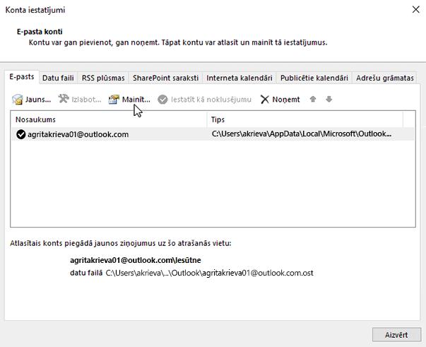 E-pasta konta iestatījumu maiņa
