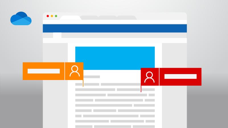 Word dokuments, kurā divi cilvēki veic izmaiņas, un OneDrive logotips