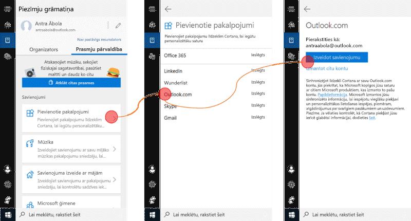 Ekrānuzņēmums ar atvērtu līdzekli Cortana operētājsistēmā Windows 10 un atvērta izvēlne savienotie pakalpojumi.
