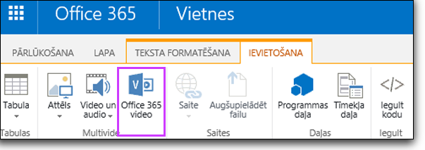Office 365 Video videoklipa iegulšana