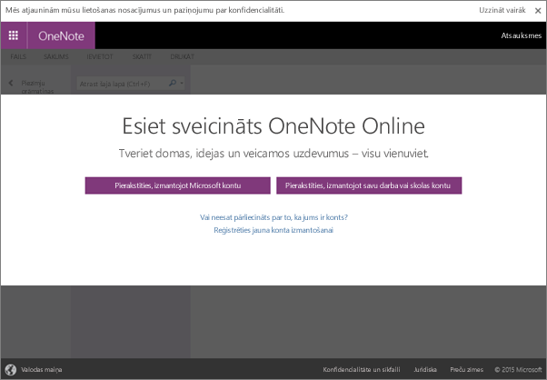 Izmantojot programmu OneNote, varat izveidot elektronisku piezīmju grāmatiņu un lietot to neatkarīgi no atrašanās vietas