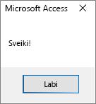 Access Hello World dialoglodziņš
