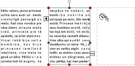 Ekrānuzņēmums, kurā redzams tekstlodziņš ar pārpildes tekstu, ko var pārvietot citā tekstlodziņā.