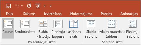 Tiek rādīta izvēlne Skats programmā PowerPoint