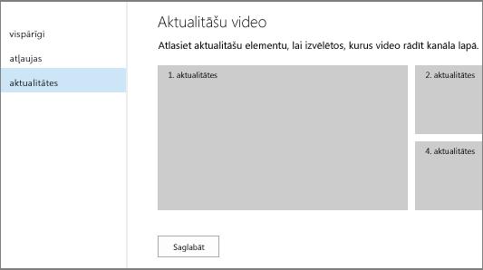 Video kanāla iestatījumu lapa — aktualitātes