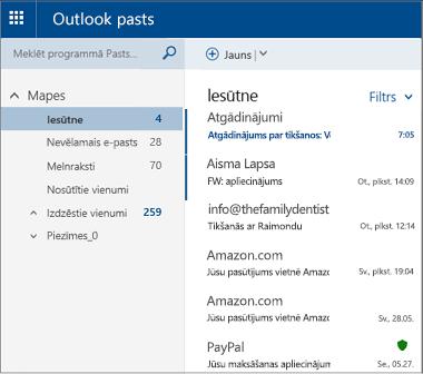 Primārais Outlook.com vai Hotmail.com ekrāns