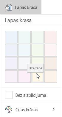 Lapas krāsu opcijas programmā OneNote darbam ar Windows 10
