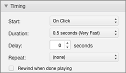 Modify the timing of the effect with Timing properties in the Animations Pane