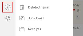 Attēls, kurā redzama kreisā navigācijas rūts programmā Outlook darbam ar iOS.