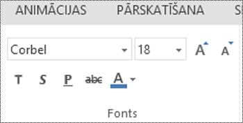 Grupa Fonts programmā PowerPoint Online