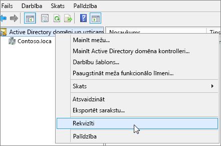 Ar peles labo pogu noklikšķiniet uz ActiveDirectory domēni un uzticamības un izvēlieties Rekvizīti