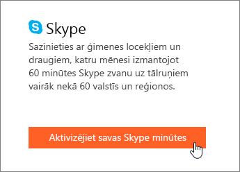 Ekrānuzņēmums, kurā redzams, kā aktivizēt Skype minūtes.