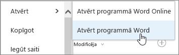 Atvērt programmas atlasi ar atlasīts vārds.