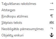 Šie ir formatēšanas rakstzīmes, kas pieejamas e-pasta ziņojumos.