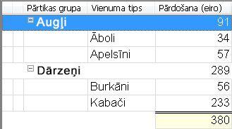 skats, kurā parādīta grupētā kārtošana ar saskaitītām vērtībām