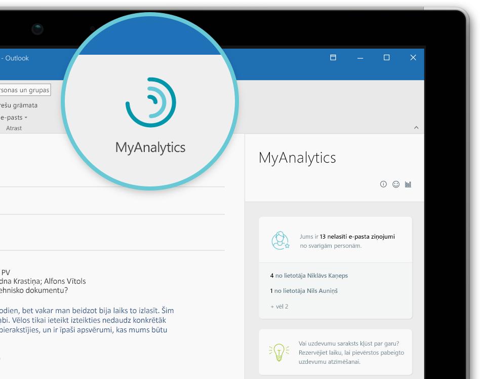 Ekrānuzņēmums ar MyAnalytics logotipu un navigācijas rūts