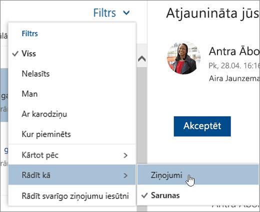 Ekrānuzņēmums ar filtra izvēlni, kurā atlasīts vienums Rādīt kā
