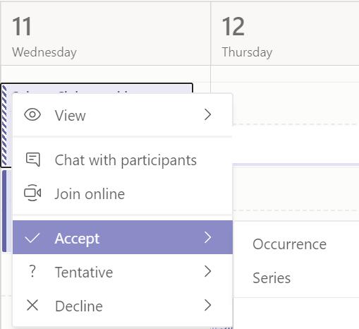 Kalendāra pasākuma kontekstizvēlne programmā Teams.