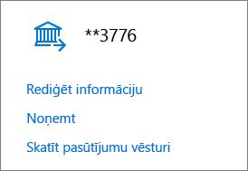 Lapa Maksāšanas iespējas, kurā tiek rādītas saites Rediģēt informāciju, Noņemt un Skatīt pasūtījuma vēsturi bankas kontam.