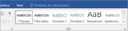 Office365 Word stili cilnē Sākums