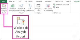 Darbgrāmatas analīzes komanda