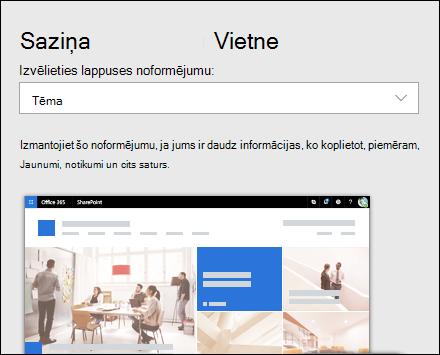 Noformējuma lietošana SharePoint vietnē