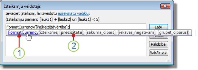 funkcijai tiek parādīta īsa informācija.