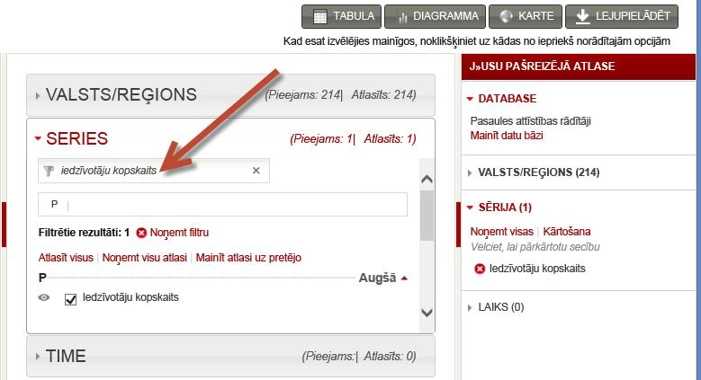 datu kopu atlasīšana vietnē worldbank.org